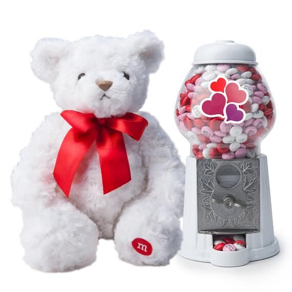 Romantic M&M'S®️️️ Candy Dispenser Bundle & Personalized M&M'S®️️️ - Show off your sweet and cuddly side with the personalized romantic gift that has it all! This teddy bear and candy dispenser set comes with customized M&M'S to express your fondest sentiments. It's sure to delight the romantic in anyone!