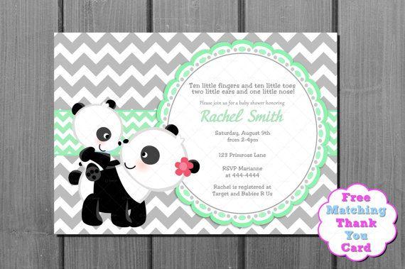 Green and Grey Chevron Panda Bear Baby by CuddleBugInvitations, $10.00