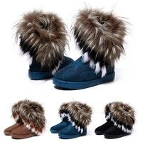 Wish | Women Fashion Winter Fox Rabbit Fur Tassel Suede Snow Real Leather Boots 9125 Women's shoes