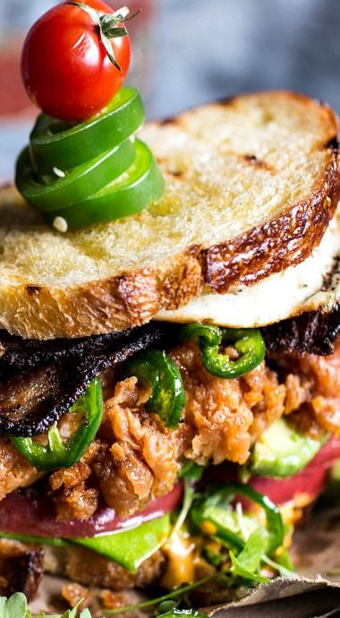 Fried Chicken BLT with Jalapeno Honey