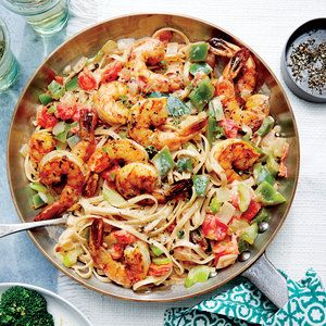 Cajun Shrimp Linguine --- Classic Cajun flavors--the smoky, spicy seasoning; sweet shrimp; and onion, green bell pepper, and celery trinity--give this pasta toss a New Orleans vibe. A jolt of ground red pepper spices things up nicely, while creamy half-and-half smooths out the edges.