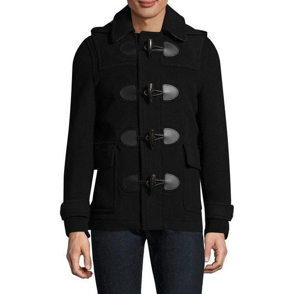 Burberry Plymouth Duffle Coat ($995) ❤ liked on Polyvore featuring men's fashion, men's clothing, men's outerwear, men's coats, mens toggle coat, mens toggle duffle coat, burberry mens coat and mens coats