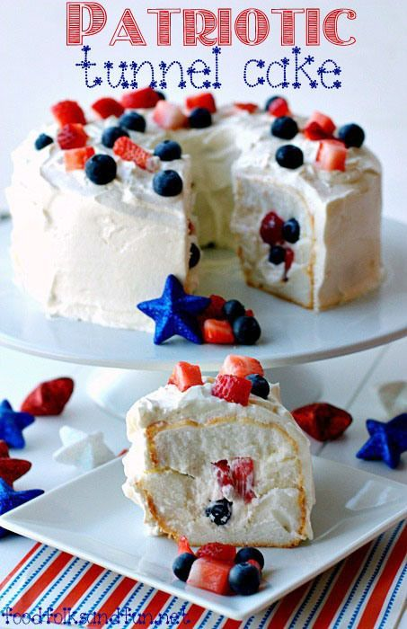 Patriotic Tunnel Cake Recipe - a quick & easy dessert Memorial Day or 4th of July!