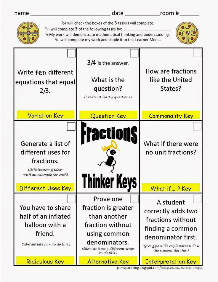 Fractions Thinkers Keys