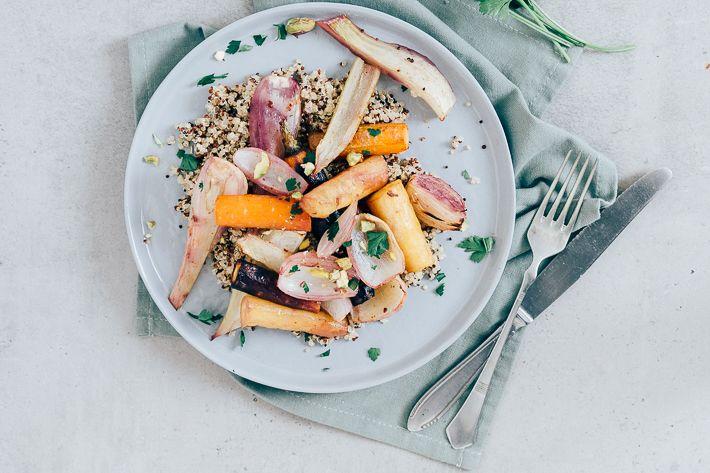Vegan hoofdgerecht: quinoa met geroosterde venkel - Uit Pauline's Keuken