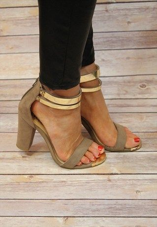 """Get the party season started with these block heel double ankle strap heels. Features - Gold plate on toe and ankle, Zip fasten at back, 10cms (4"""") heel. Made from Man Made Materials"""