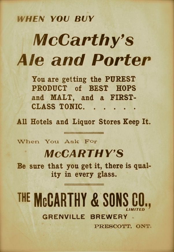 Ad in the city directory for the Grenville Brewery, owned by John McCarthy.  Location Prescott, Grenville, Ontario, Canada