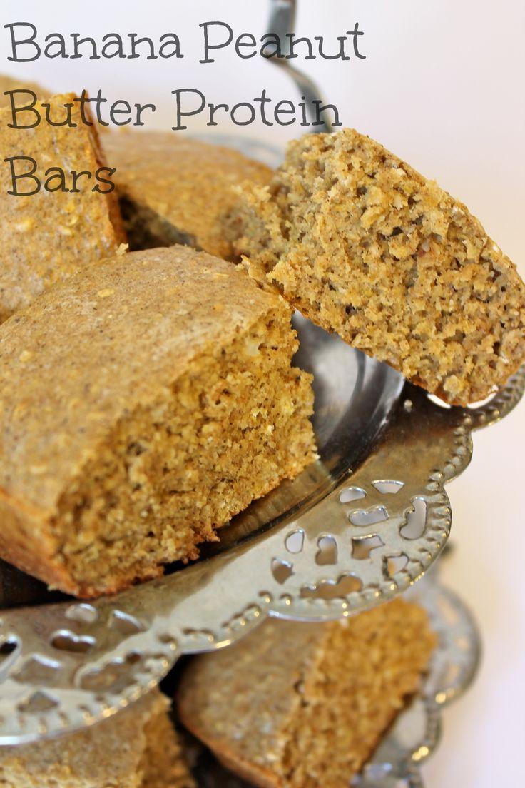 Banana Peanut Butter Protein Bars:  super healthy ( like 100 calories per serving, LOW SUGAR & Carbs