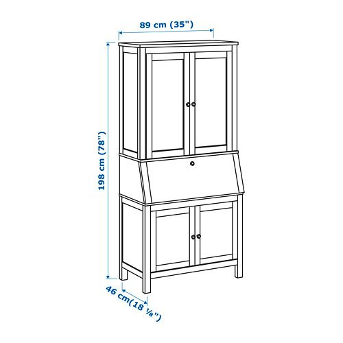 HEMNES Secretary with add-on-unit, white stain white stain 35x78