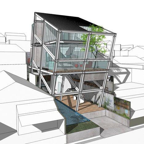 Leaning house by Indonesian architects Budi Pradono.
