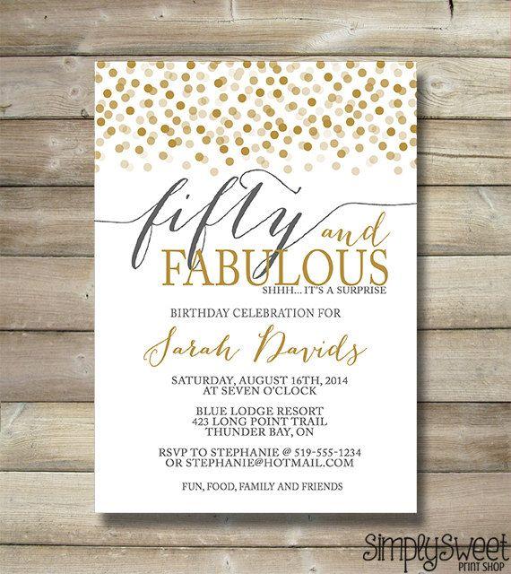 Birthday Invitation Any Age 50 & Fabulous by SimplySweetPrintShop