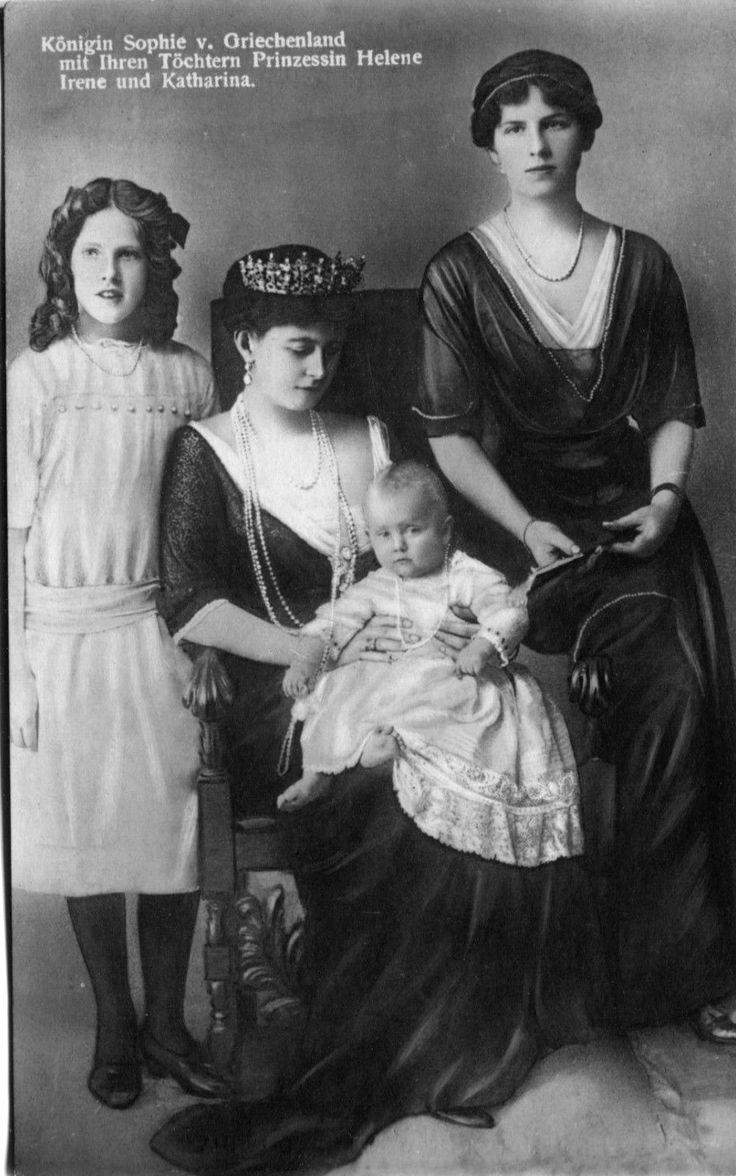 Queen Sophie of Greece and her daughters.