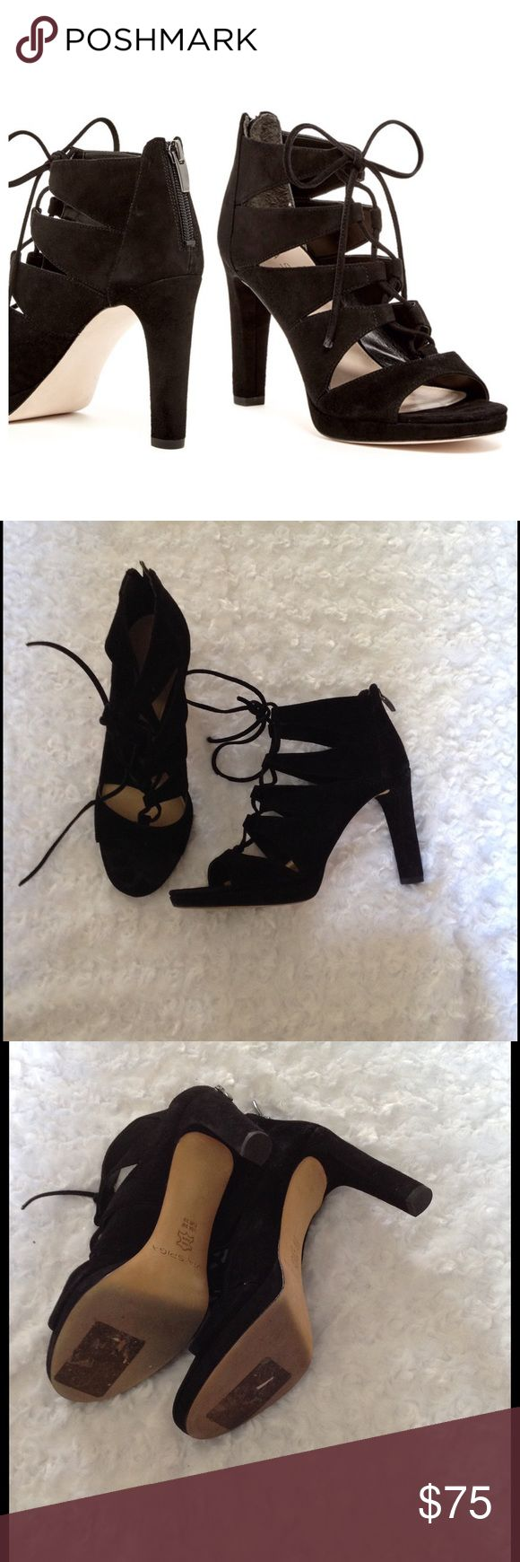 "Via Spiga Rajah Lace Up Black Suede Heels Via Spiga Rajah Lace Up Black Suede Heels. Back Zipper Closures. Worn for about 4 hours in Las Vegas. Purchased at Nordstrom Rack. 4"" heel. Original Box Included! I am normally a 8.5 / 9 and these fit perfect. Via Spiga Shoes Heels"