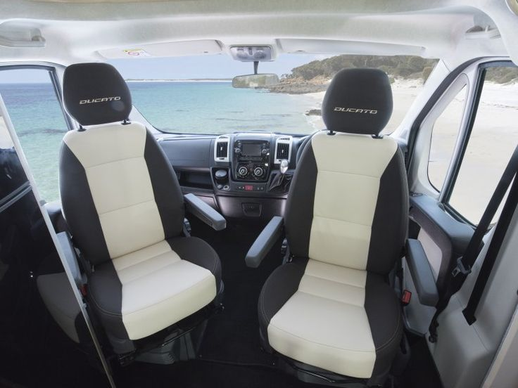 Look at the expansive view the drivers cabin of your C7424SL Birdsville motorhome gives you whlist in the drivers cabin. The seats swivel so that they can be turned towards the living area whilst parked up too!