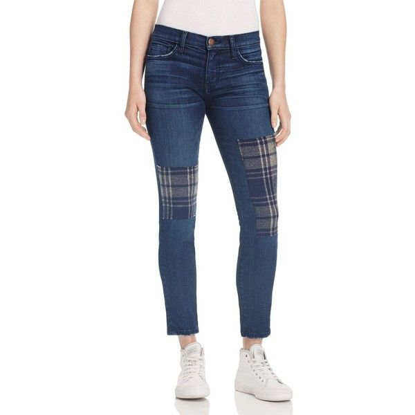 Current/Elliott The Stiletto Patched Jeans in Vista - 100%... (€250) ❤ liked on Polyvore featuring jeans, patch jeans, blue jeans, blue denim jeans, tartan jeans and punk jeans