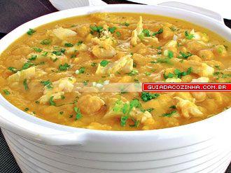 Receita de Sopa de grão-de-bico e bacalhau Mais