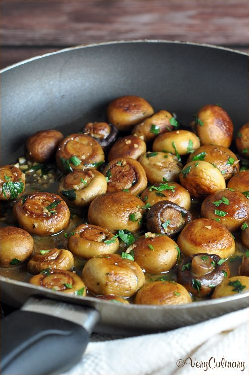 Two kinds of mushrooms are sauteed in butter, olive oil, garlic, and lemon, which create a fantastic pan sauce!