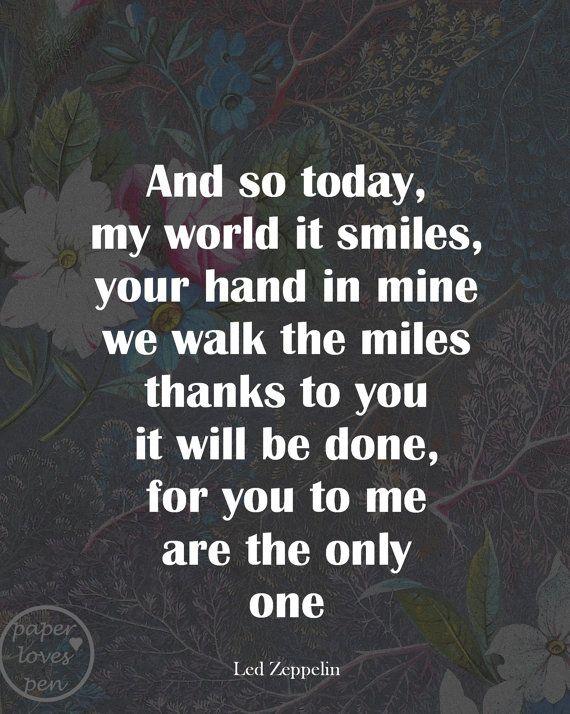 Led Zeppelin lyric Art Quote 8X10 Typography