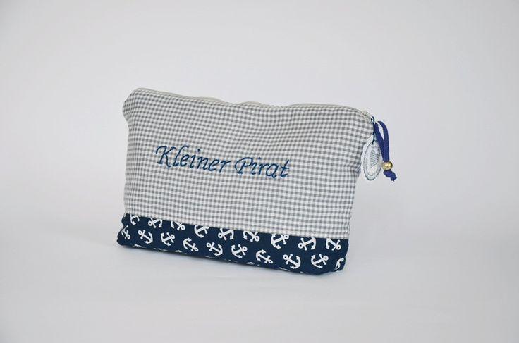 Windeltaschen - Windeltasche-Wickeltasche grau aus Baumwolle - ein Designerstück von Kleine-Villa bei DaWanda