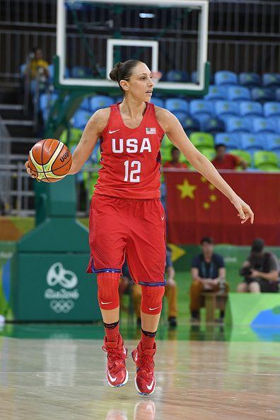 Diana Taurasi of the USA Basketball Women's National Team brings the ball up…