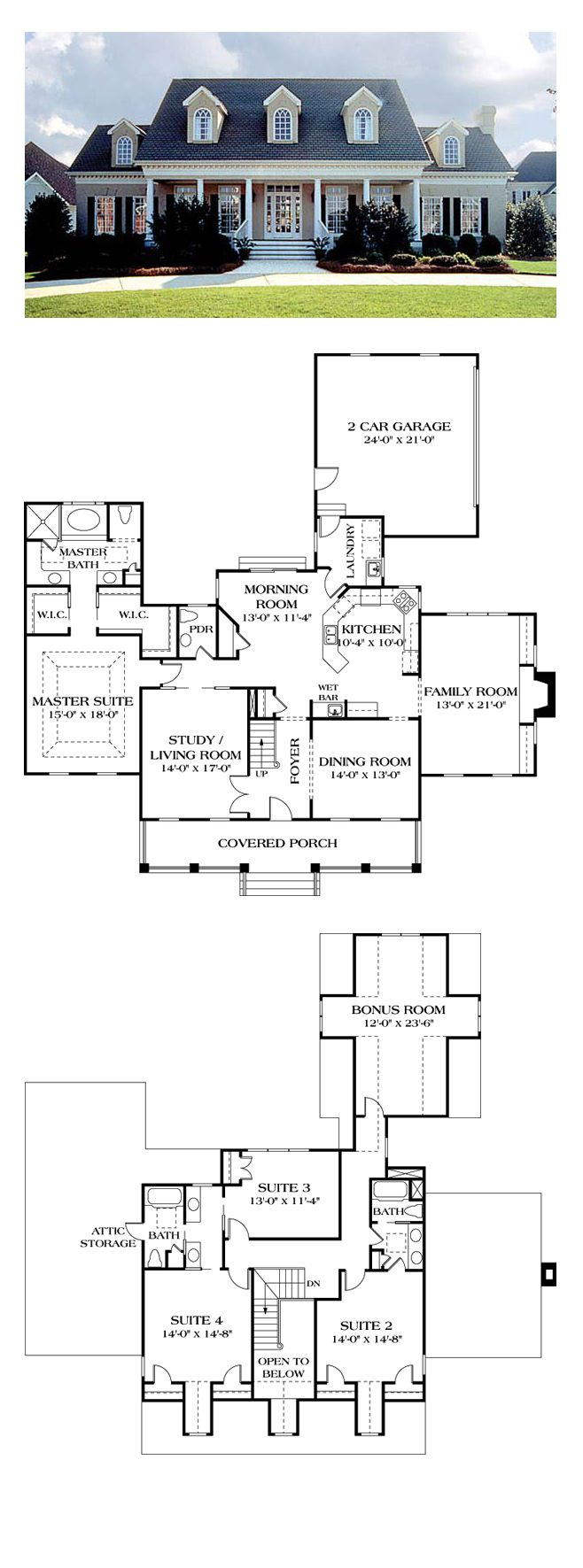 Colonial House Plan 85454 | Total Living Area: 3338 sq. ft., 4 bedrooms and 3.5 bathrooms. The floor plan is completely up-to-date beginning with an open entry foyer flanked by the formal living room and dining room. The master suite offers dual walk-in closets as well as a trayed ceiling in the bedroom. #houseplan #colonialhome