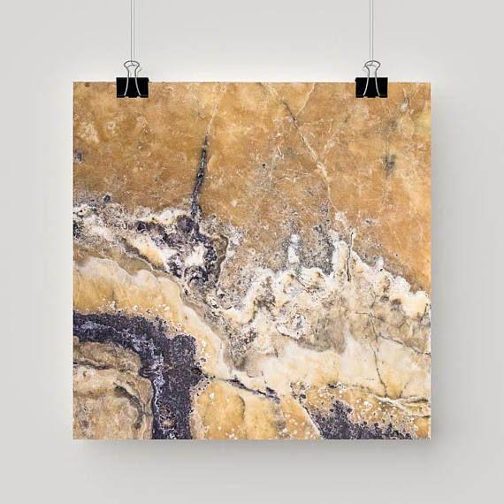 """Moderne kunst """"Onyx travertijn"""" - Print natuursteen vierkant moderne fotografie kunst patronen in de natuur"""