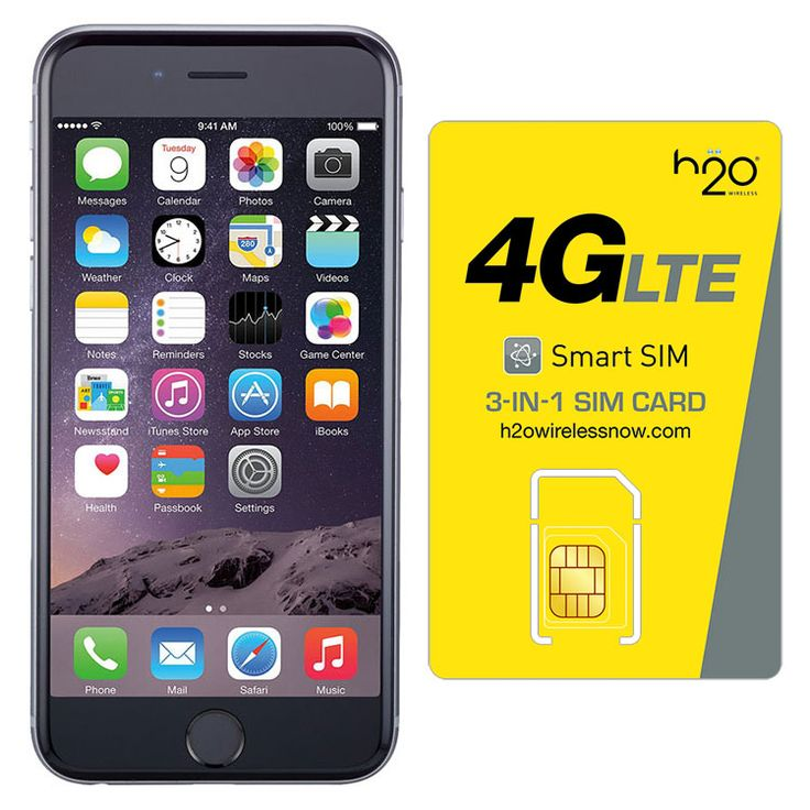 Refurbished iPhone 6 Space Gray AT&T 64GB & H20 4G LTE SIM Card (1GB Data Included)