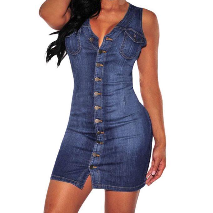 Robe tendance jeans boutonnière - bestyle29.com