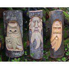 Справедливая Торговля Ручной Резной Деревянный Зеленый Человек/Сова Ствол Дерева, Пенек, Бревно Статуя