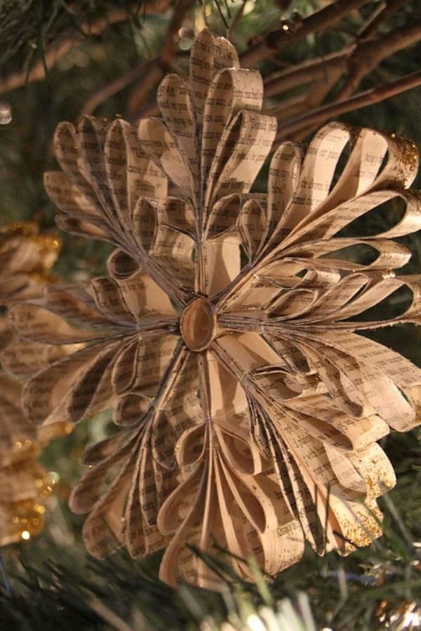 Grab an old book and fold the pages into loopy snowflakes for a more eclectic vibe on your Christmas tree.  Get the tutorial here.    - Redbook.com