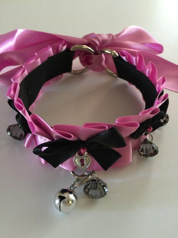 Bubblegum Pink and Black Kitten Play Collar by TheFlirtyKitten