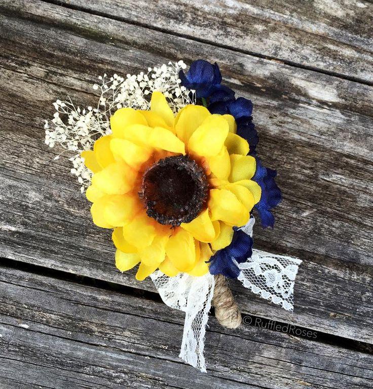 Rustic Sunflower Navy boutonnière