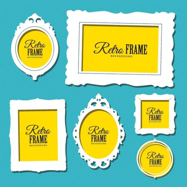 Vintage yellow frames and banners Free Vector