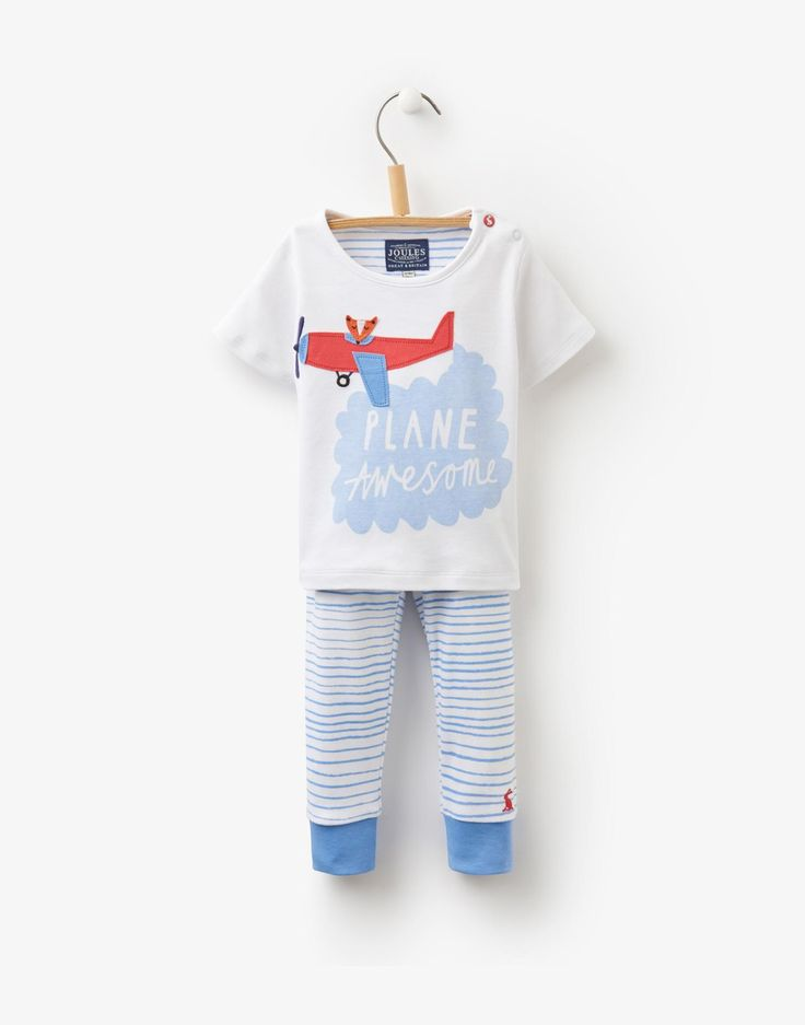 Doodle Bright White Plane Jersey T-Shirt and Trouser Set | Joules UK