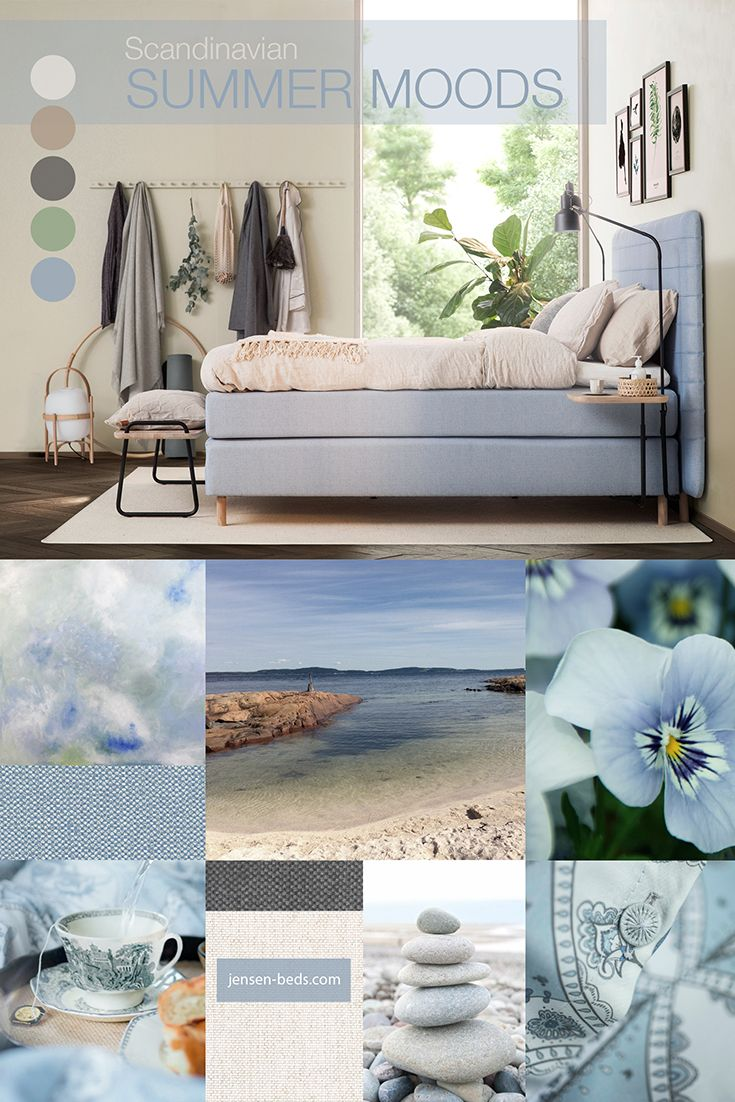 Summer moods with a Scandinavian touch. Beautiful shades of blue and touches of colors from the beach makes this bedroom feel airy and light. You will find more information of the gorgeous bed at http://jensen-beds.com/