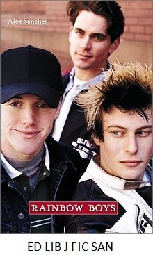 Rainbow Boys - by Alex Sanchez. Three high school seniors, a jock with a girlfriend and an alcoholic father, a closeted gay, and a flamboyant gay rights advocate, struggle with family issues, gay bashers, first sex, and conflicting feelings about each other.