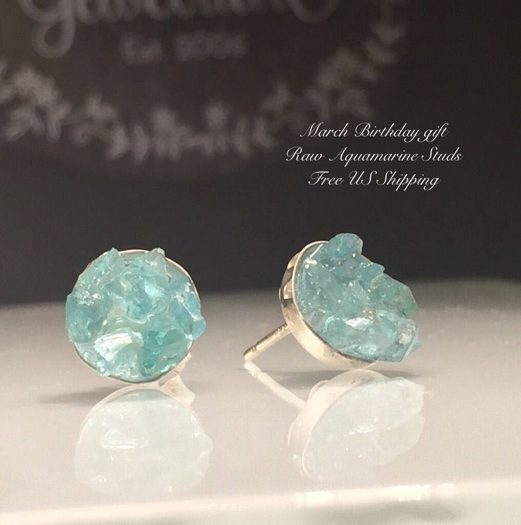Excited to share the latest addition to my #etsy shop: Raw Aquamarine Earrings/Aquamarine Studs/Upcycled Raw Aquamarine Sterling Silver Stud Earring./March Birthday gift/Free Shipping in the US.