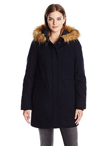 New Trending Outerwear: Tommy Hilfiger Womens Wool Utility Coat with Faux Fur Trim Hood, Navy, Small. Tommy Hilfiger Women's Wool Utility Coat with Faux Fur Trim Hood, Navy, Small  Special Offer: $56.53  422 Reviews Wool utility coat with faux fur trim hoodHooded zip front cocoon duffle coat with removable faux fur trimmed hoodCocoon style duffle coat with a buckle tab closure at...