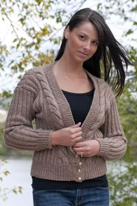 V-Neck Cable Front Cardigan W350
