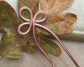 Simple Spiral Wavy Copper Hair Stick or Shawl Pin - Hair Accessories. $9.00, via Etsy.