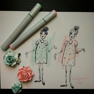 yanaru.blogspot.com pink green fashion illustration copic