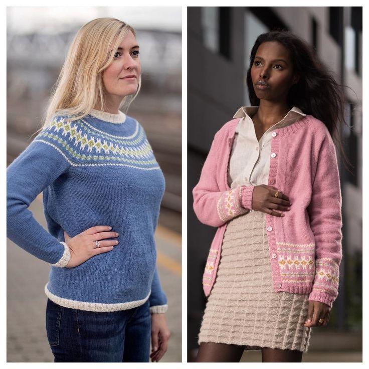 Ingeborggenser strikket i knittinginnafargen lys denim og Ingeborgjakken er strikket i varm rosa