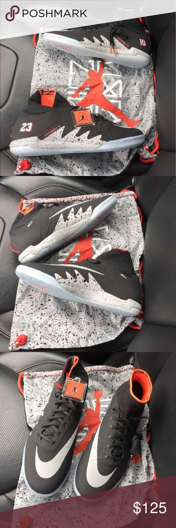 Super Rare Jordan x Neymar HypervenomX Sneakers These are incredibly rare and unworn. Even if you are not a soccer fan, it's hard to pass on these collaboration kicks between Jordan and Neymar!!! I do not have the box, but they come with Jordan hang tag and shoulder bag as pictured. These are still factory laces and haven't even been tried on. Go on Flight Club and price these!! This is a steal of a price. Make an offer!! Jordan Shoes Athletic Shoes