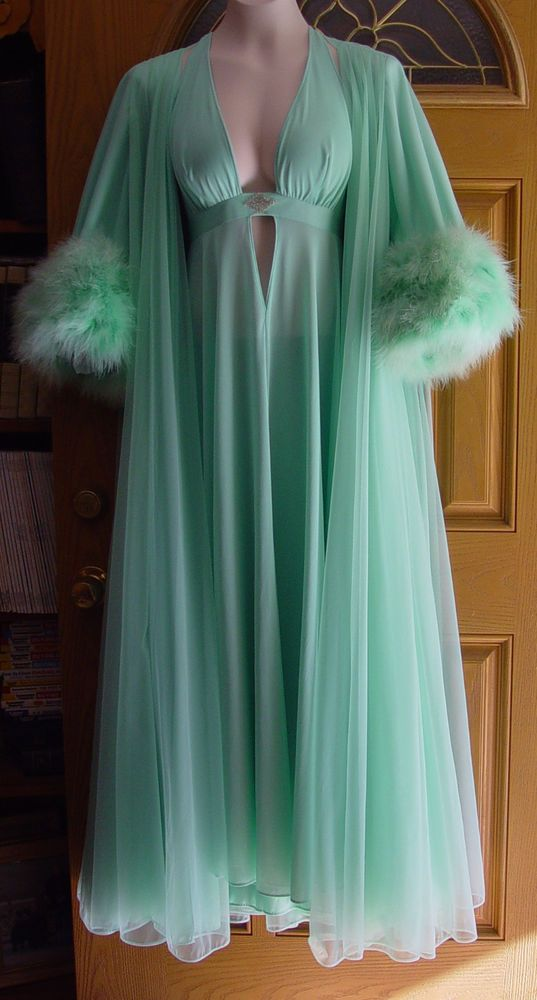 Vintage Lucie Ann Claire Sandra Marabou Seafoam Green Gown Robe Pegnoir M-LRARE #LucieAnnClaireSandraofBeverlyHills