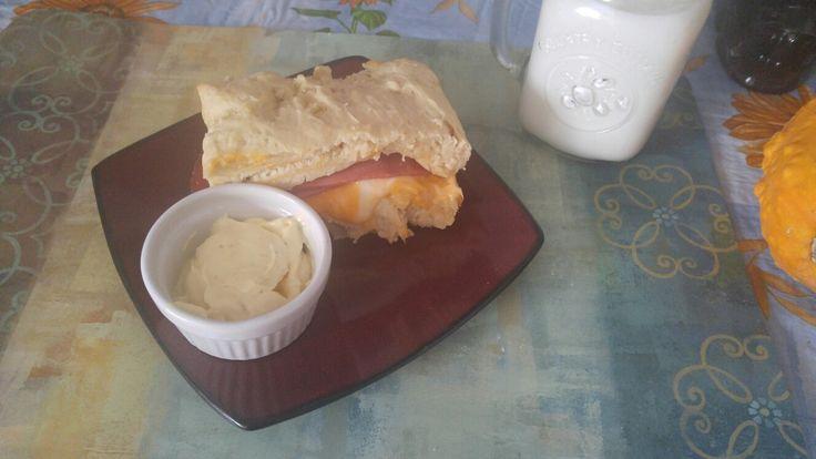 Fried bologne n cheese sandwich