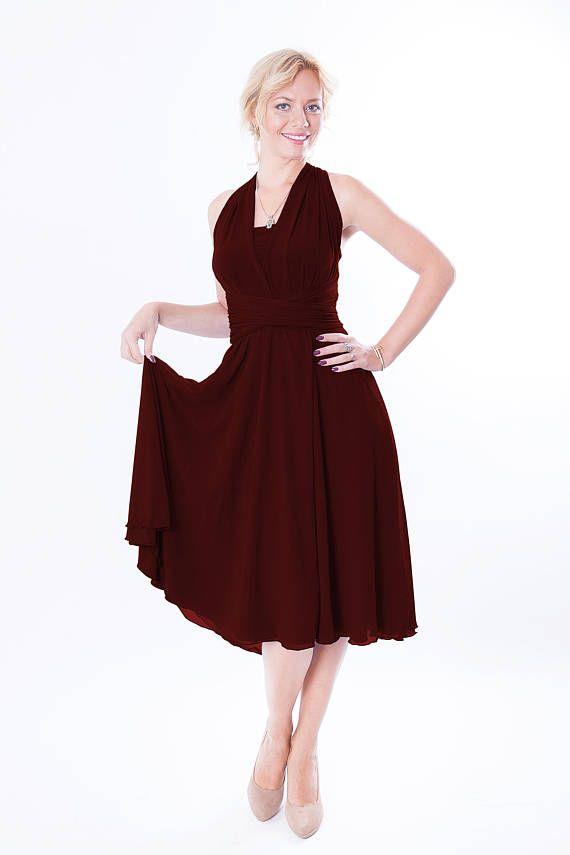 dae80338b6b Bordo bridesmaid dress with chiffon skirt