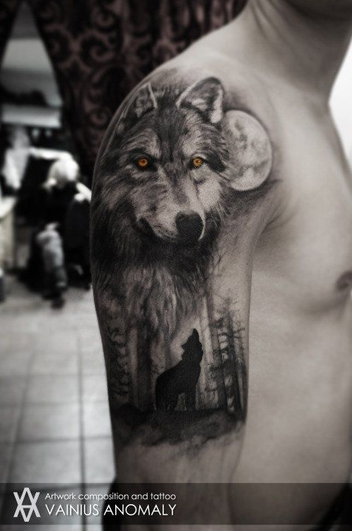 Mystical Looking Colored Upper Arm Tattoo Of Wolf In Forest With Yellow Eyes Tattooimages Biz Wolf Tattoo Sleeve Wolf Tattoos Men Wolf Tattoos For Women