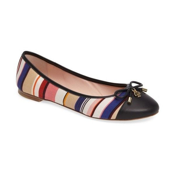 Women's Kate Spade New York Wooster Ballet Flat (17405 RSD) ❤ liked on Polyvore featuring shoes, flats, multi color stripe, ballet pumps, ballet shoes, colorful flats, golden shoes and multi color shoes