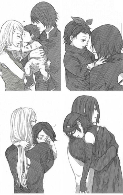 SasuSaku with their beautiful daughter Sarada