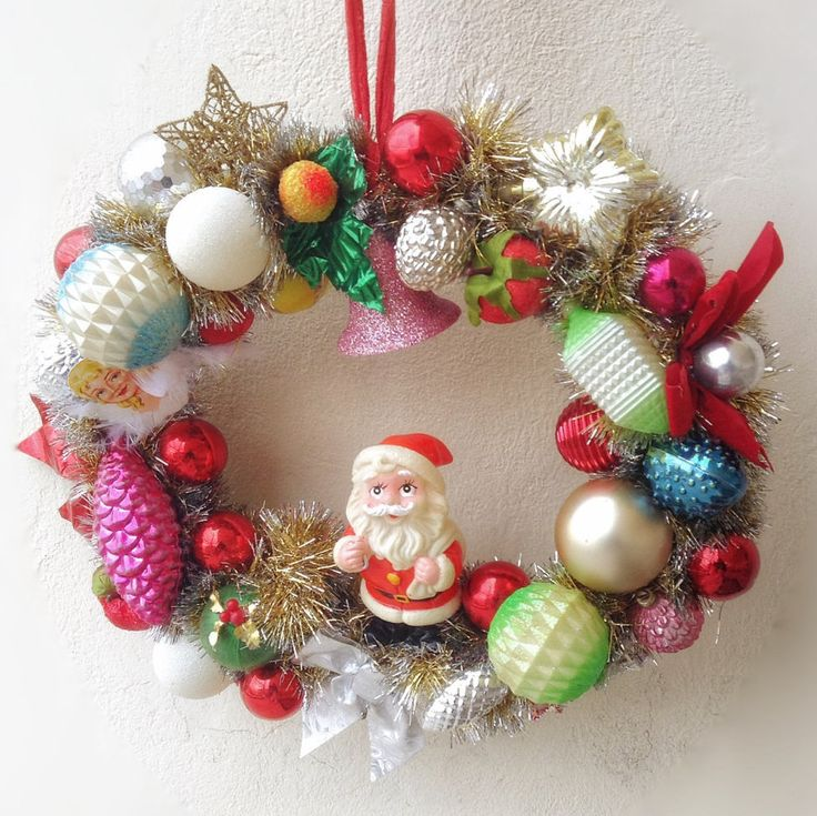 Christmas kitsch retro vintage handmade shinny wreath with mid century ornaments by VintageShopCreations on Etsy https://www.etsy.com/listing/260265994/christmas-kitsch-retro-vintage-handmade